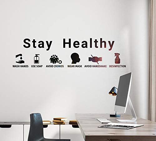 Wall Art Stickers Quotes and Sayings,Stay Healthy Coronavirus Wash Hands Stay Healthy Coronavirus Wash Hands Removable Wall Art Sticker Vinyl Decal Mural Home Decor