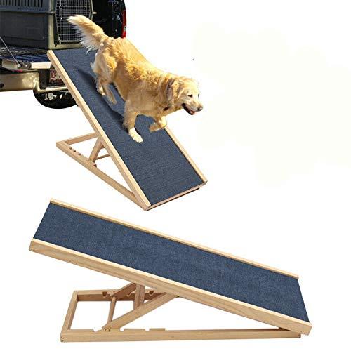 100cm Lang Hölzerne Hundetreppe Hunderampe für Auto Höhenverstellbar Hunderampe Für Auto Für Großen Hund Haustier Rampe, Anti-rutsch