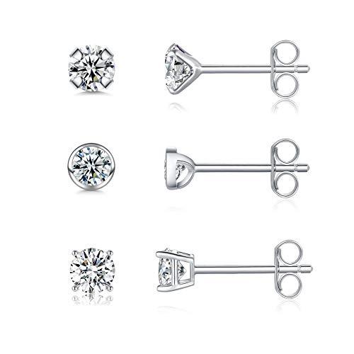 Sterling Silver Stud Earrings for Women, 3 Pairs Small Cubic Zirocnia Studs Hypoallergenic Cartilage Stud Sleeper Earrings Set Piercing Jewellery for Girls, Men, 3mm
