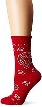 K Bell Women s Celebrating Americana Crew Socks-Made in USA Bandana  Red  Shoe Size  4-10