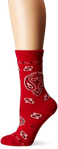 K. Bell Women's Celebrating Americana Crew Socks-Made in USA, Bandana (Red), Shoe Size: 4-10