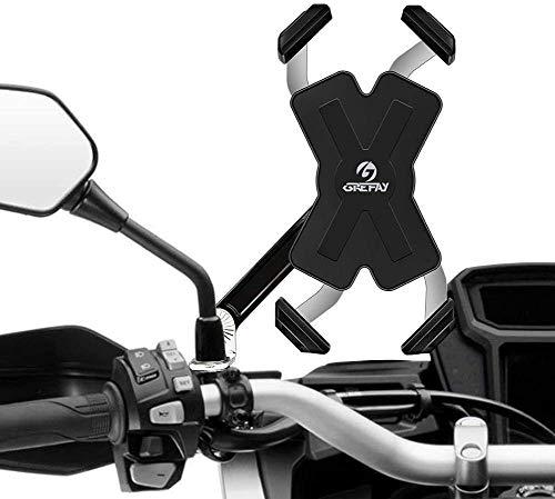 Grefay Soporte para Teléfono Móvil para Motocicleta Inteligente de Acero Inoxidable para Motocicleta Espejo Retrovisor Giratorio de 360 ° para Teléfono Inteligente de 4.0-7.0 pulgadas