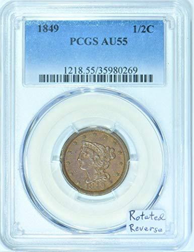 1849 P Braided Hair Rotated Reverse Half Cent AU-55 PCGS