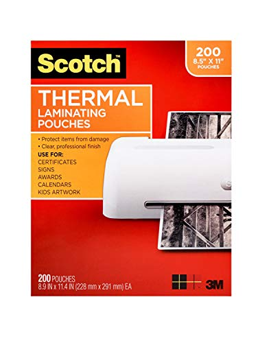 Scotch Thermal Laminating Pouches, 200-Pack, 8.9 x 11.4 inches, Letter Size Sheets, Clear, 3-Mil (TP3854-200)