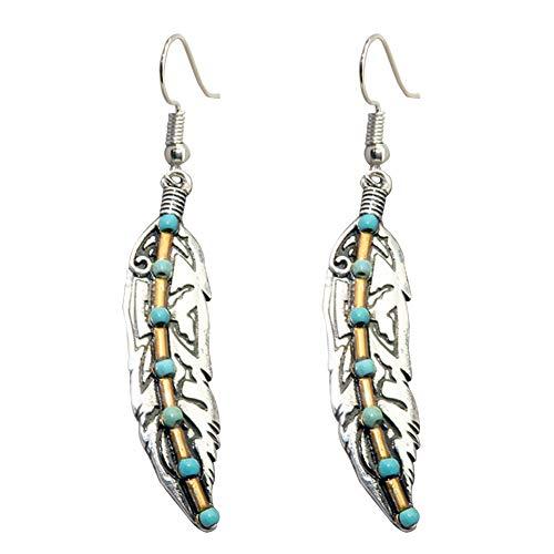 Pendientes de gota de plumas de turquesa estilo étnico con gancho para la oreja para mujer