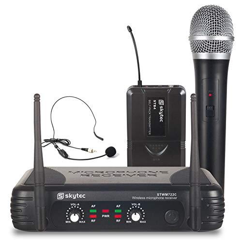 Skytec STWM722C Twee Kanaals Draadloze UHF Microfoon/Headset Combinatie