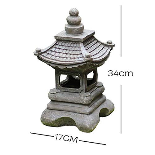 ZXLRH Estatua Moderna del jardín Solar, Linterna de Luces de césped al Aire Libre Zen, Estatua de lámpara de Pagoda, Escultura de decoración de Paisaje de luz de Palacio