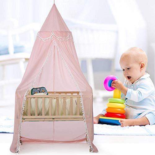 Cortina de Cama, mosquitera, Cama de bebé para niños Mosquitera Cubrecama Cortina Ropa de Cama Cúpula Cunas Tienda de campaña Decoración(Rosado)