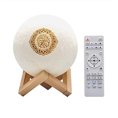 LWW Qur'an Moon Lights 3D-Druck-Lampe, 7 Farben, LED-Nachtlicht, Koran, Bluetooth-Lautsprecher, Fernbedienung, kleine Mond-Lampe, kabelloser Koran-Lautsprecher