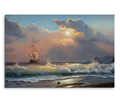 Paul Sinus Art 120x80cm Leinwandbild auf Keilrahmen Ölgemälde Strand Meer Wellen Segelboot Wolken Wandbild auf Leinwand als Panorama