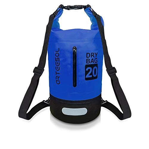 arteesol Dry Bag, 5L/10L/20L/30L Waterproof Bag Dry Sack Backpack with Waist Strap for Beach Swim Kayaking Hiking - Protect Camera Cash Document From Water and Dirt