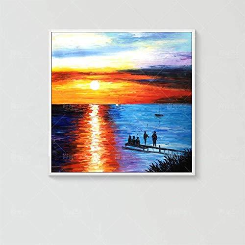 Schilderij olieverfschilderij op canvas, abstract natuurlandbeeld, mooi oranje zonsondergang hemel, blauwe zee landschap, moderne kunst Pop Dia, maat A Mano Wall Art Picture voor Viver 110×110 cm/44×44 inch