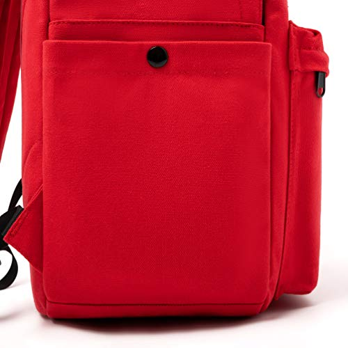 Canvas Backpack for Women Casual Girls School College Bookbag Travel Daypack 15.6 Inch Laptop Backpacks - Red
