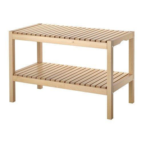 IKEA houten bank 'Molger' bank met plank - massief berken - BxDxH 83x37x50 cm - BURKE - geschikt voor badkamer en vochtige ruimtes