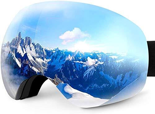 Karvipark Skibrille, Ski Snowboard Brille Brillenträger Schibrille Verspiegelt, Doppel-Objektiv OTG UV-Schutz Anti Fog Snowboardbrille Damen Herren Kinder für Skifahren Snowboard (Silber VLT11%)