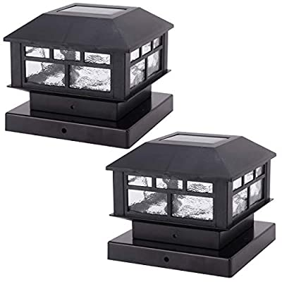 Solar Post Cap Lights Outdoor 10 Lumen Double LED Fence Post Solar Powered Waterproof Light for 4x4 or 5x5 Wood Posts in Patio, Deck or Garden Decoration, 2 Pack