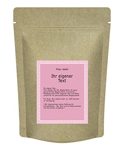 """Teegeschenk mit dem """"eigenen Namen"""" – Die personalisierte Tee Geschenkidee - Dein eigenes Tee-Etikett mit eigenen Text. Als Glückwunsch, zur Geburt ...- 70 g - Grüner Tee in der Zip-Tüte"""