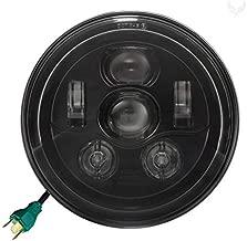 Eagle Lights 7 inch Round LED Generation III Headlight - Fits Harley Davidson with 7 inch Headlights - Plug and Play H4 - Retrofits 2D1 Headlights (Black)