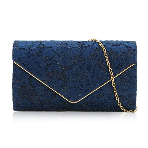 Milisente pochette da donna, in pizzo, pochette da sposa a tracolla, borsa da sera, Blu (Nave), Small