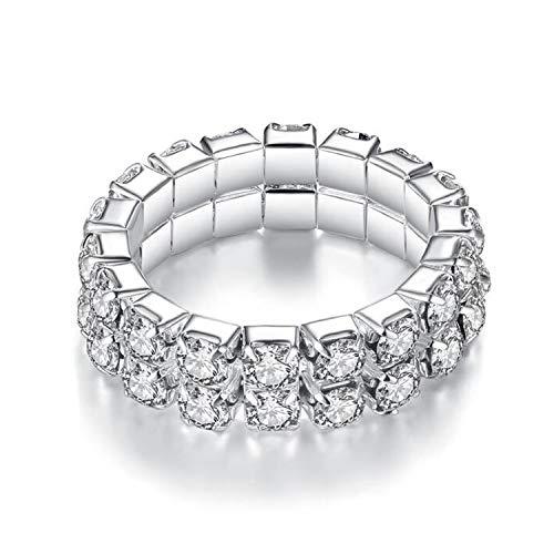 Cool-House-UK Jewelry Eine Reihe/Zwei Zeilen/DREI Zeilen/Vier Reihen Strass elastische Ringe Diamant-Ring elastischer Ring