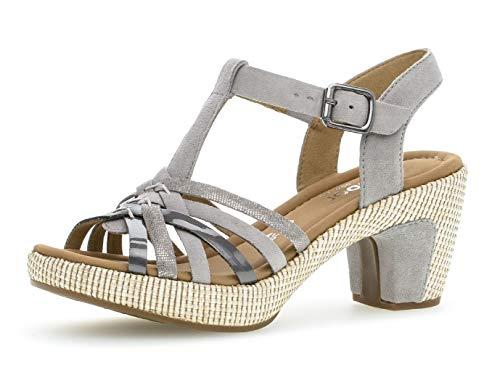 Gabor Damen Sandaletten 22.736.39, Frauen Sandaletten,Sommerschuhe,offene Absatzschuhe,hoher Absatz,grau (ba.st),38 EU / 5 UK