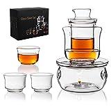 Glass Sake Set Cups Hot Saki Drink with Warmer Pot Keep Sake Storage Gift Box,6pcs Include 1 Stovetop 1 Warming Bowl 1 Sake Bottle 3 Cups