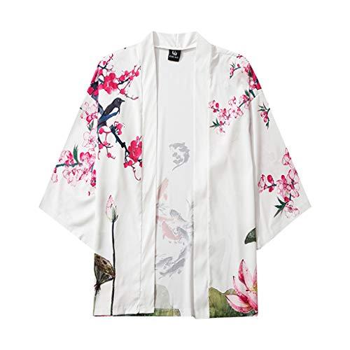 Herren T-Shirt Cardigan, Sommer BademäNtel Cardigan Strand Mantel Strickjacke MäNtel Strand Cover Bikini Bluse Robe Blouse Beachwear Baggy Tops
