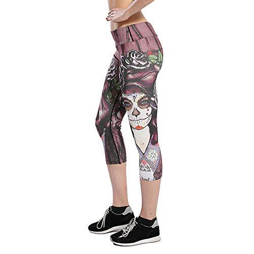 OIKAY Damen Hose Unter Rock Kurz Leggings 3/4 Sport Capri Leggins Hohe Taille Fitness Yoga Sporthose Bedruckte Stretch Leggings