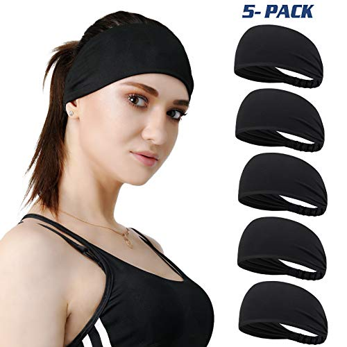 DASUTA Set of 5 Women's Yoga Sport Athletic Headband Sweatband for Running Sports Travel Fitness Elastic Wicking Style Bandana Basketball Headbands Headscarf fits All Men & Women (Black - 5 Pack)