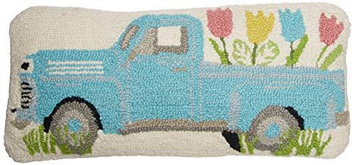 Mud Pie Easter Egg Truck Hook Wool Accent Lumbar Pillow Decorative Pillow, White, Blue