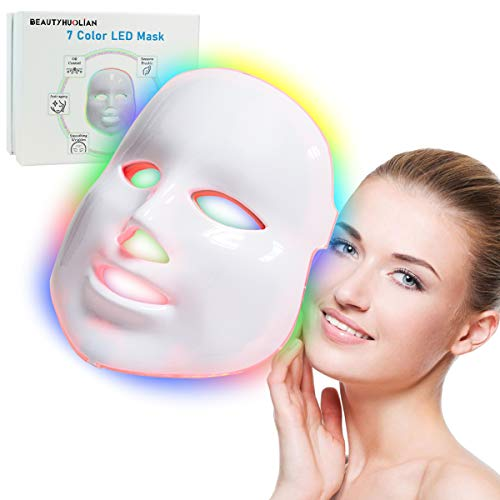 7 Color LED Mask, BeautyHuoLian Light Therapy Skin Rejuvenation 7 Color PDT Photon Facial Skin Care Mask Facial Mask LED Portable SPA Face LED Mask, White