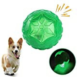 Ousuga Pets Dog Toy Ball,Rubber Flashing Jumping Balls Dog Tooth Cleaning Toy Interactive Dog Toys,Durable Chew Activation Ball for Pets Training Swimming Playing Running