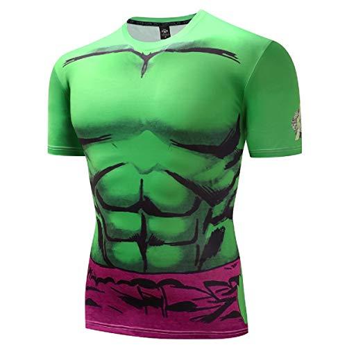 GYM GALA Men's The Hulk T-Shirt Casual and Sports Short Sleeve 3D Printed Compression Shirt (Medium, Light Green)
