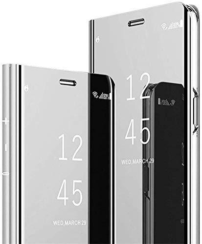 Urhause Kompatibel mit Samsung Galaxy A20 Hülle Spiegel Fenster Case Flip Leder Handyhülle Magnetverschluss Spiegel Ledertasche Handytasche Durchsichtiges Spiegel Tasche Mirror Clear View Lederhülle