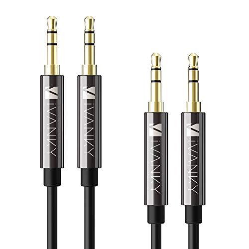 [2 Stück] iVANKY Aux Kabel, 3.5mm Klinkenkabel - 1.2m Audio Kabel für Kopfhörer, Beats, Apple iPhone iPod iPad, Echo dot, Smartphones, MP3 Player und mehr - Schwarz (Kupferhülse/Hi-Fi Sound)