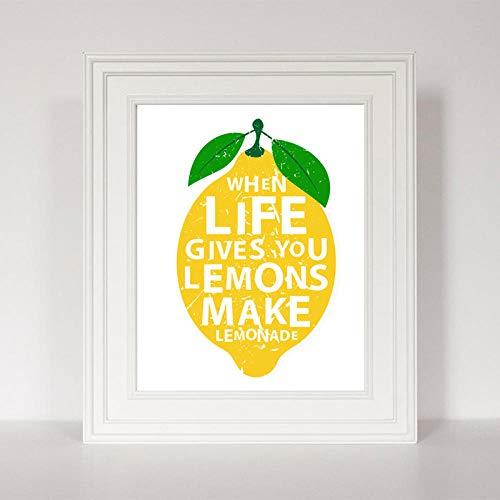 hdbklhjxk Modern, wanneer het leven je citroenen geeft, maak limonade keuken decoratie canvas schilderij print poster muurkunst foto's wooncultuur 50x70cm niet-ingelijst