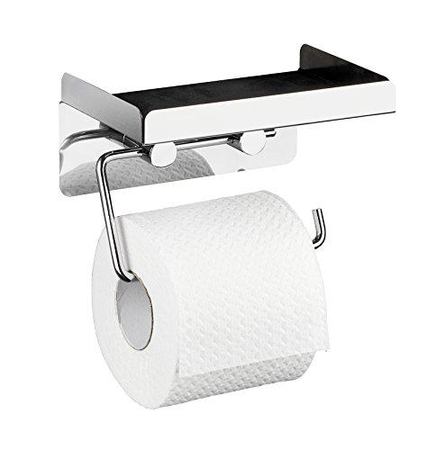 WENKO Toilettenpapierhalter 2 in 1 Edelstahl, Edelstahl rostfrei, 16 x 12.5 x 11.5 cm, Glänzend