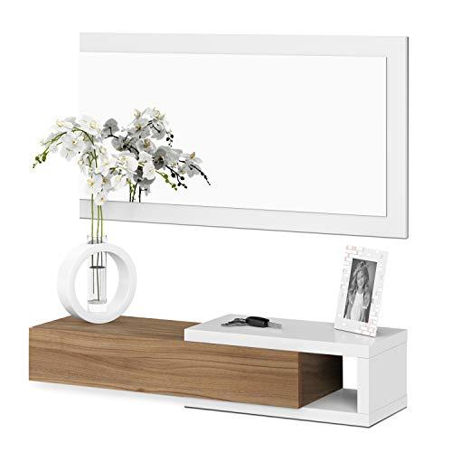 Habitdesign - Recibidor con cajón + espejo, medidas 19 x 95 x 26 cm de fondo (Blanco Brilloy Nogal)