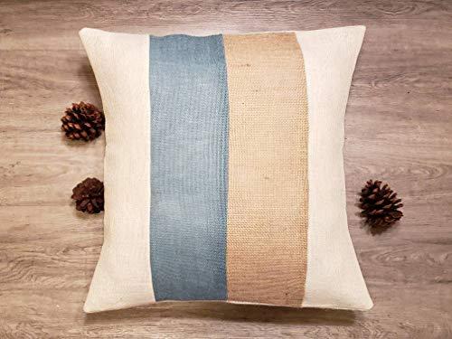 ArthuereBack Aangepaste threetone streep licht denim blauw ivoor natuurlijke of maak eigen kleuren rustieke jute kussen coversham