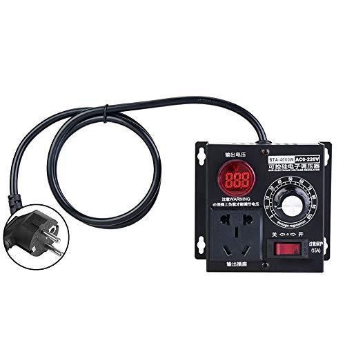Pusokei Regulador de Voltaje SCR AC 220V 4000W, regulador de Velocidad del Ventilador del Motor con Cero histéresis/Cero retardo/Carcasa de Metal espesante(UE)