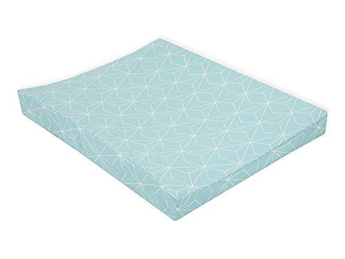 KraftKids Bezug für Keilwickelauflage weiße dünne Diamante auf Mint, Wickelunterlage-Bezug aus 100% Baumwolle, Wickelbezug in 50 x 70 cm tief abwaschbar