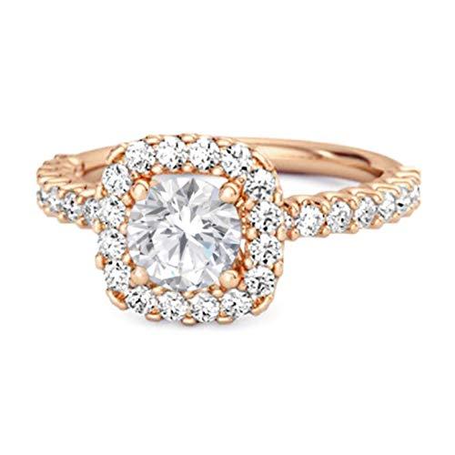 Shine Jewel Multi Elija su Piedra Preciosa Anillo de halo Chapado en Oro Rosa de Plata esterlina 925 de 0.25 Ctw para Regalo de Princesa (13, cz Blanca)