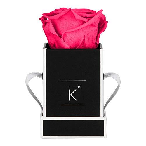 TRIPLE K Rosenbox Square Black, Infinity Rosen, bis 3 Jahre haltbar, Flowerbox Geschenkbox inklusive Grußkarte (XXS, Purple Pink)