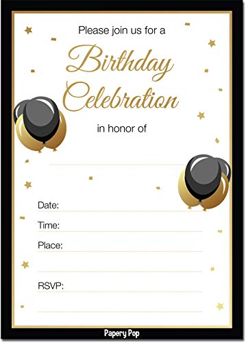 Adult Birthday Invitations with Envelopes (30 Count) - Anniversary Party Celebration Invites Cards
