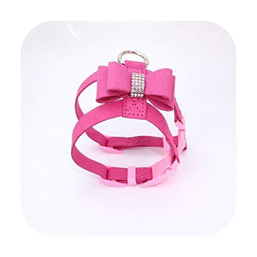 Bling Rhinestone Pet Puppy Dog Arnés de terciopelo con lazo para perros pequeños, cachorros, gatos, chihuahua, collar rosa para mascotas, productos de mascota, color rojo rosa
