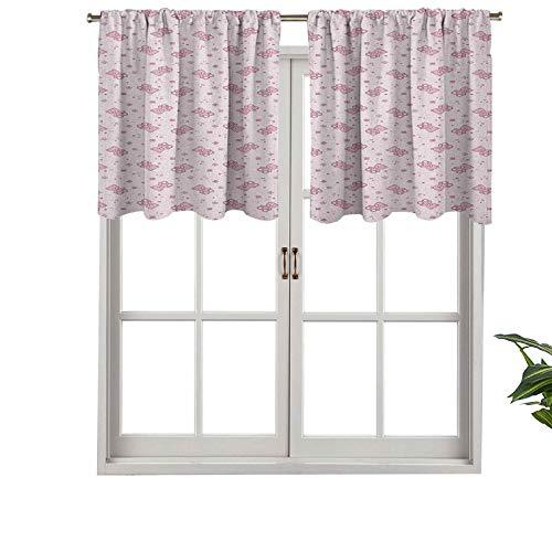 Hiiiman Elegante cortina de bolsillo para barra con cenefas de osito de peluche con corazones florecientes flores de colores pastel, juego de 1, 91 x 45 cm, decoración del hogar para niños y niñas
