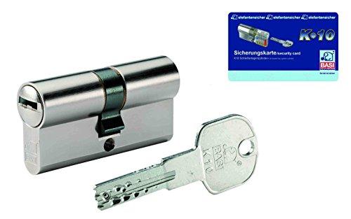 BASI Schließsysteme K10 Doppelzylinder 45/60 mm inklusive 3 Schlüssel und Sicherungskarte, 4902-4560m