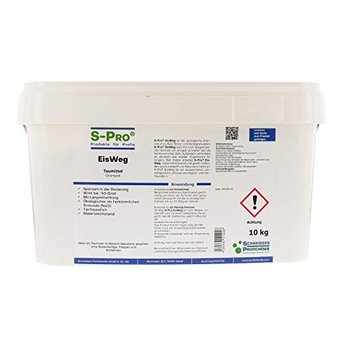 S-Pro EisWeg Auftau-Winterstreu-Granulat 10kg | konz. Enteiser-Streumittel als Streusalz-Alternative | tierfreundlich, pflanzen- & umweltschonend | schnelltauend, langanhaltend eis- und schneefrei
