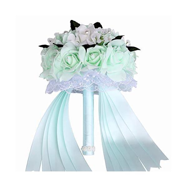 XRKJ Wedding Bouquets for Brides or Bridesmaids Crystal Silk Roses Bridal Bridesmaid Wedding Hand Bouquet Artificial Fake Flowers