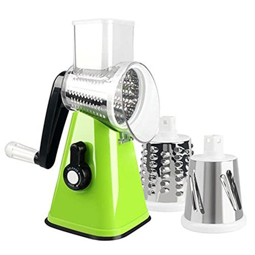 zhaoying Rallador rotativo, cortador de verduras con 3 cuchillas de tambor desmontables, rallador giratorio para cocina, lavaplatos, molinillo de queso eficientemente para verduras, frutos secos, etc